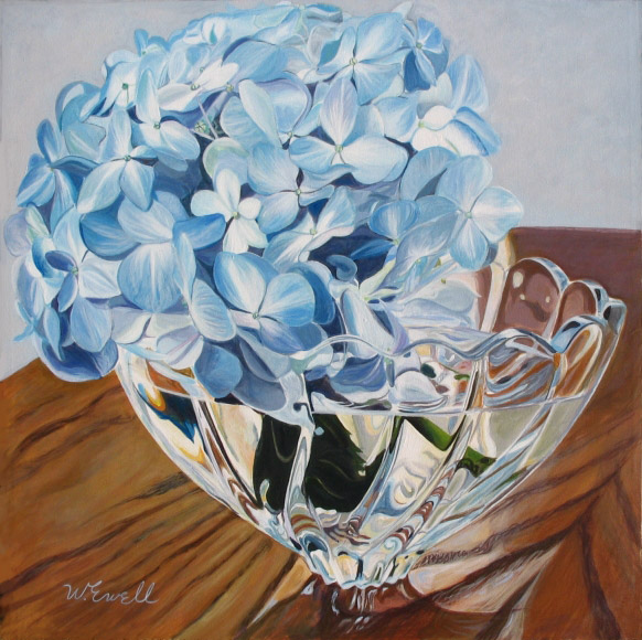Hydrangea in a Crystal Bowl